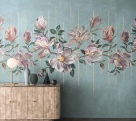 Osborne Little Collezione Ermecini Tappezzeria Verona OL folium magnolia aqua main W