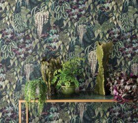 Osborne Little Collezione Ermecini Tappezzeria Verona OL folium green wall console W