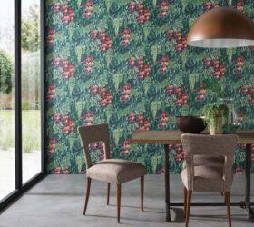 Osborne Little Collezione Ermecini Tappezzeria Verona OL folium green wall dining W